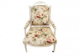 Floral louis style shabby chic chair