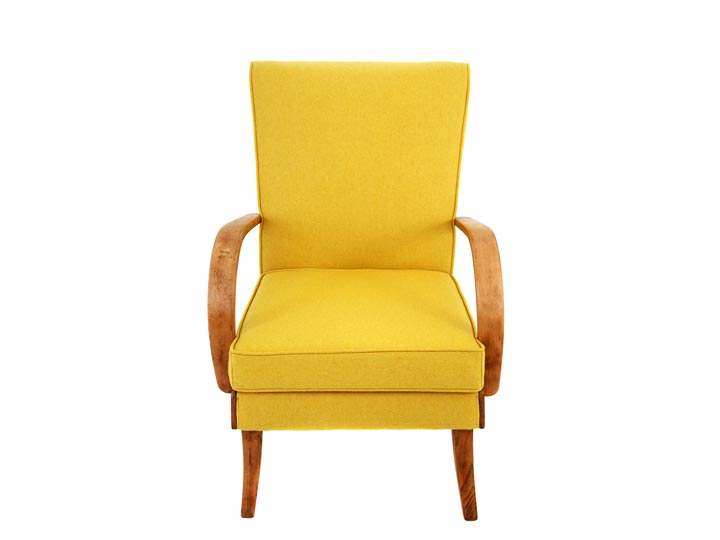 yellow retro upholstered chair